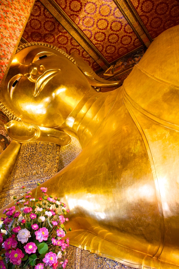 The top end of the famous Reclining Buddha in Bangkok. I knew 150 feet was going to be long, but this was impressive nonetheless.