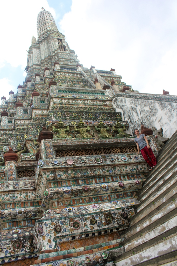 Wat Arun was our favorite wat to check out! It wasn't too crowded when we were there (rainy season!), and we got to hop on a neat water taxi to get there. The steps to the top were STEEP though - some were spaced a good 2.5 feet apart!