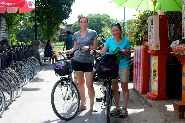 One day we took a 20 baht train ride (and then a sketchy water taxi) to the ancient city of Ayutthaya! We decided to rent some bikes (50baht for the day) to ride around the ruins. To give you an idea of how cheap this awesome day was, 30 baht = 1 dollar.