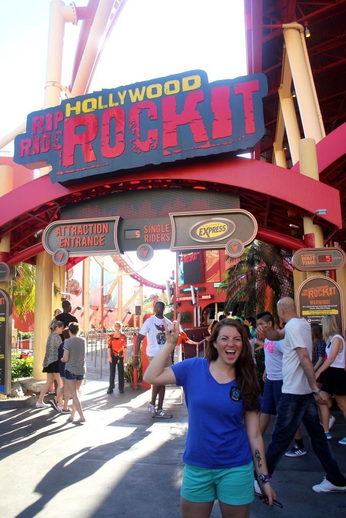 On our way to Diagon Alley we stopped at the Rock It Roller Coaster which was amazing - and had virtually no line!