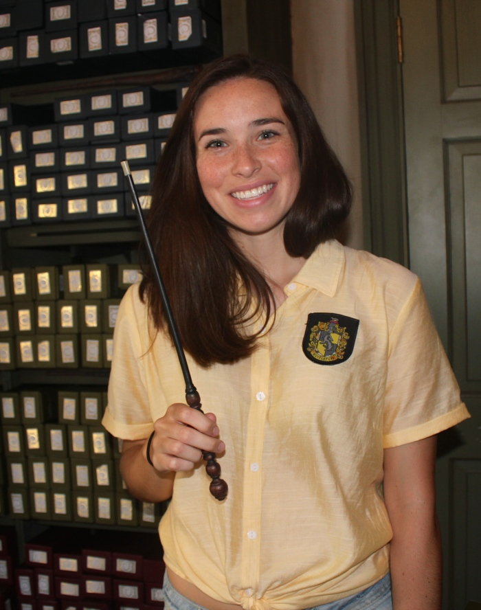 "I've been to Harry Potter World three times now and each time at Ollivander's I've been picked for the wand ceremony which is just ridiculous! Here I am with the wand that ""chose me""."